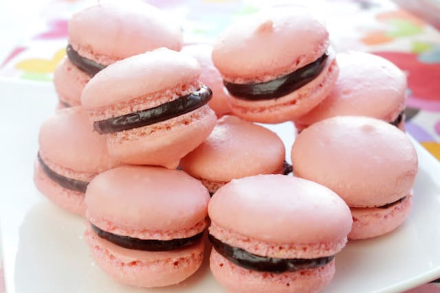 French macarons on a cake tray
