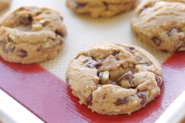 freshly baked mint chocolate chunk cookies