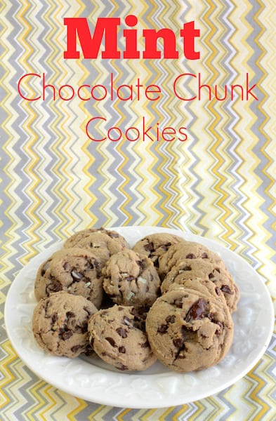 mint chocolate chunk Cookies on a plate