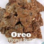 oreo peanut butter bark on a white plate