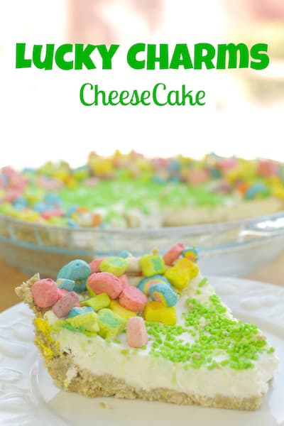 lucky charms cheesecake in a plate