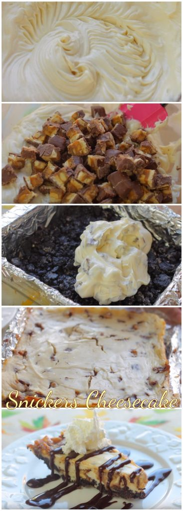 Snickers Cheesecake step by step guide