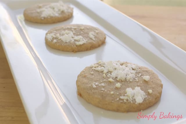 delicious and soft carrot cookies on a white rectangular plate