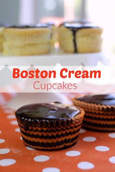 Easy Boston cream cupcakes