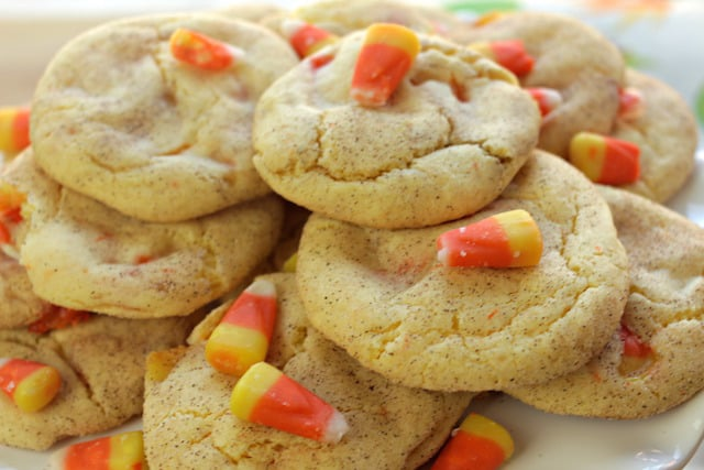 delicious and freshly baked snickerdoodle candy corn cookies