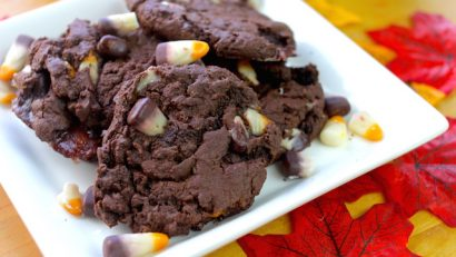 easy and delicious S'mores candy corn cookies on a white plate