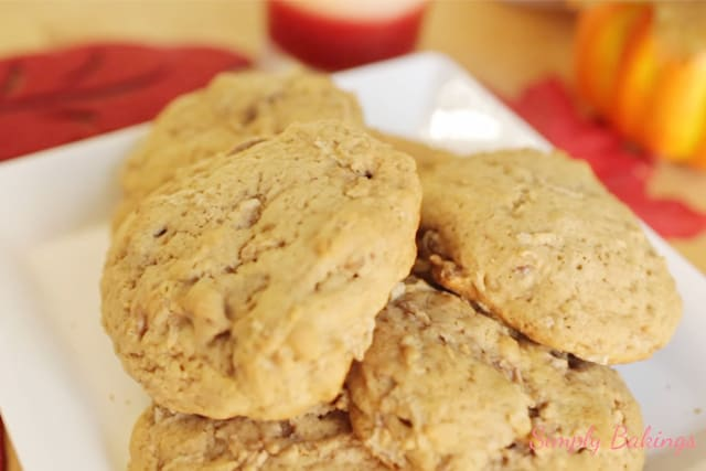 delicious and buttery soft Apple cookies on a white plate