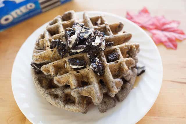 oreo waffles on a white plate