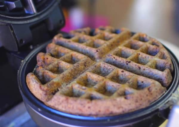 cooked oreo waffle on a waffle maker