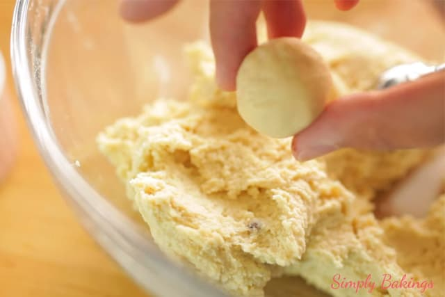 forming the sugar cookie dough into a ball
