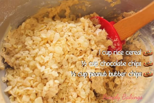 adding in the rice cereal to the Peanut Butter Sprinkle Cookie dough