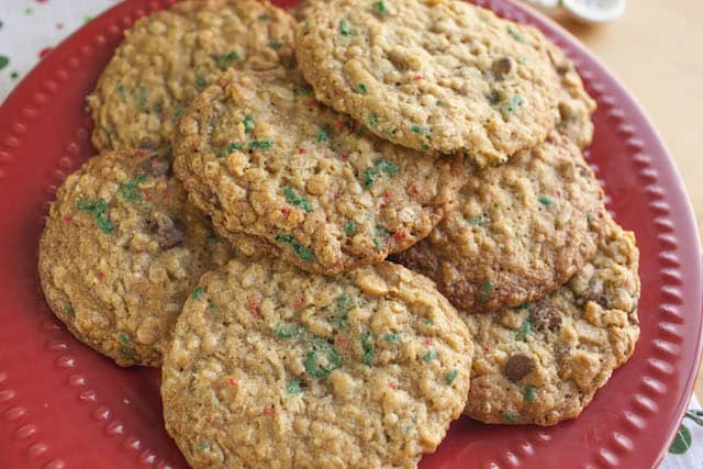 delicious Peanut Butter Sprinkle cookies on a red plate