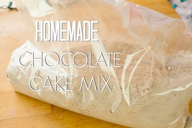 homemade chocolate cake mix in a ziplock bag