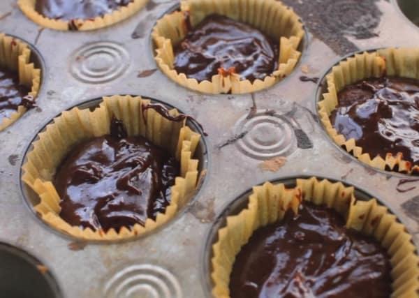 cupcake batter in a baking pan for 3 ingredient cupcake recipe
