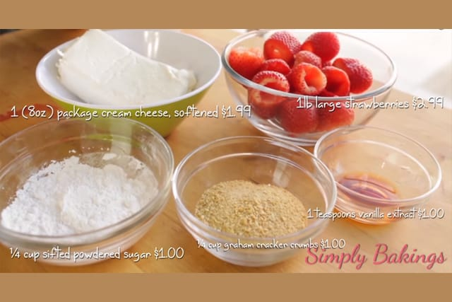 ingredients for no bake strawberry stuffed cheesecake