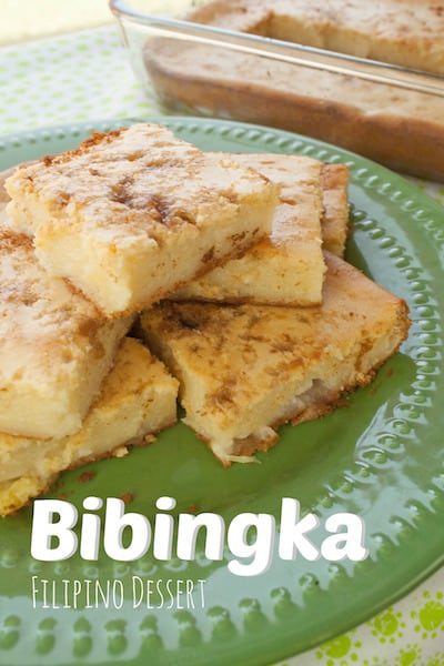 Filipino dessert Bibingka slices on a green plate