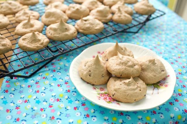 freshly baked Meringue Cookies on a white plate