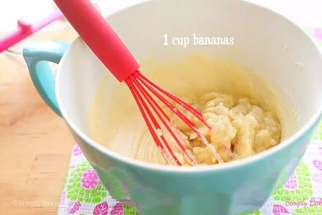 adding the mashed bananas to the mixture