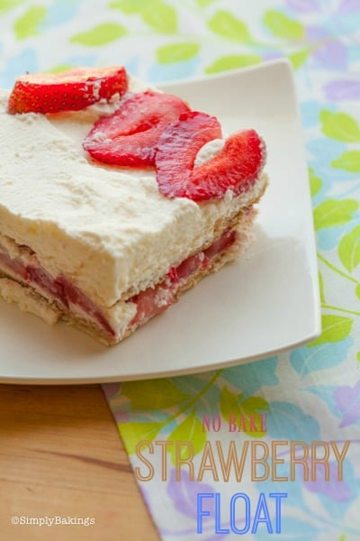 NO BAKE STRAWBERRY FLOAT CAKE on a white plate