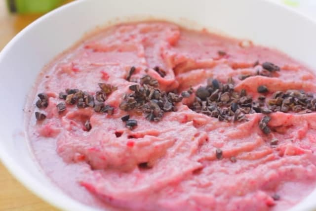 strawberry smoothie in a bowl