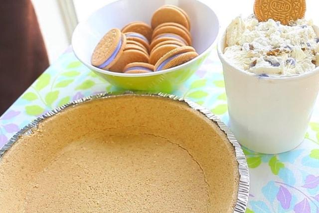 pie crust, oreos and ice cream