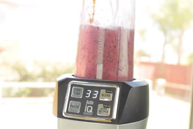 mixed smoothie in a blender