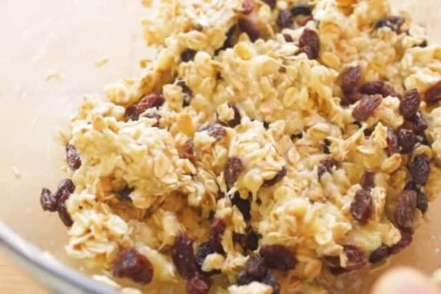 mixed ingredients and raisins