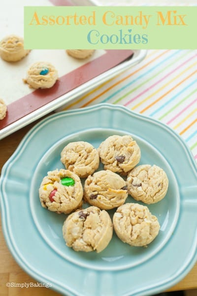 assorted candy mix cookies on a blue circle plate
