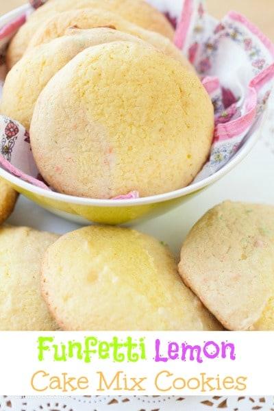 funfetti lemon cake mix cookies on a yellow bowl