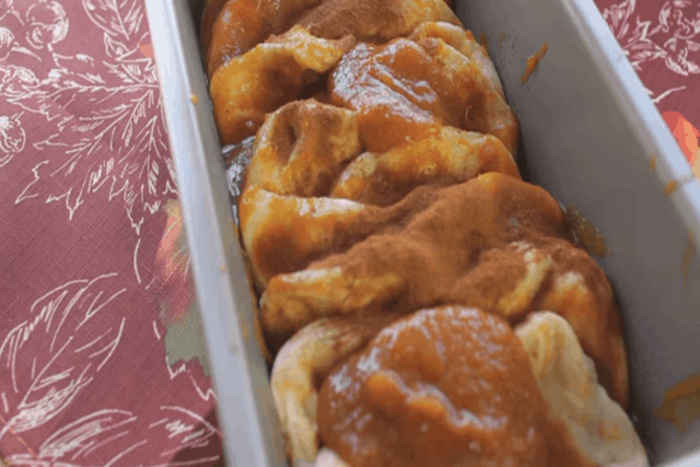 6 ingredient pumpkin pull apart bread in a loaf pan