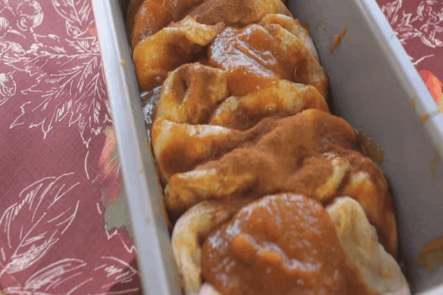 6 ingredient pumpkin pull apart bread in a loaf pan