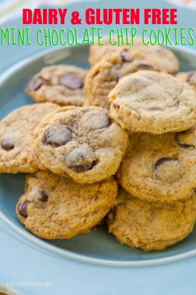 dairy and gluten free mini chocolate chip cookies