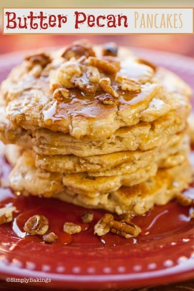 pecan pancakes on a red plate
