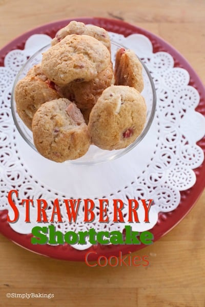 strawberry shortbread cookies on a plate