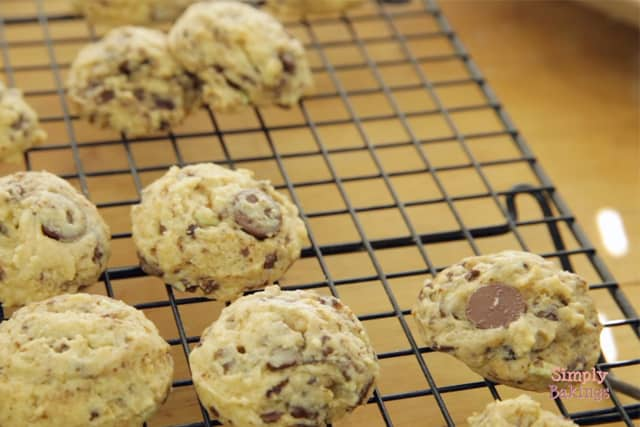 cooling the coffee mint cookies on a wire rack
