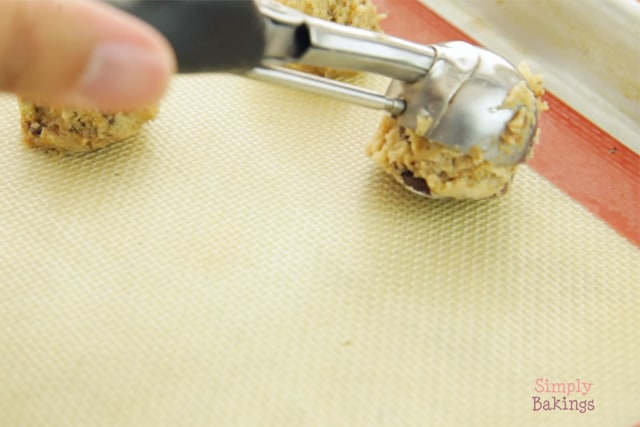 placing coffee mint cookie dough on a baking mat