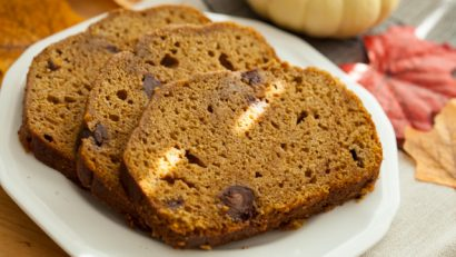 chocolate pumpkin bread on a white plate