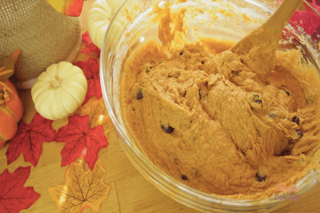thoroughly mixed pumpkin chocolate chip bread batter in a bowl