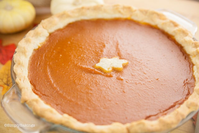 a whole layer of dairy free vegan pumpkin pie on a clear baking dish