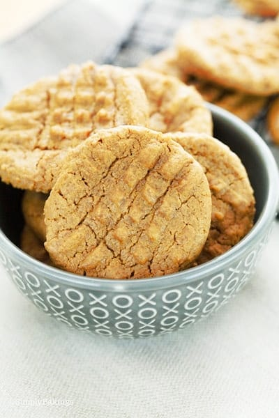 SunButter cookies in a gray small bowl