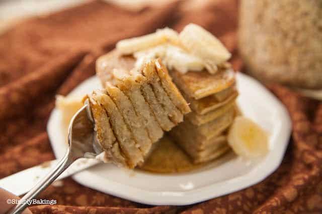 dairy free banana oatmeal pancake sliced