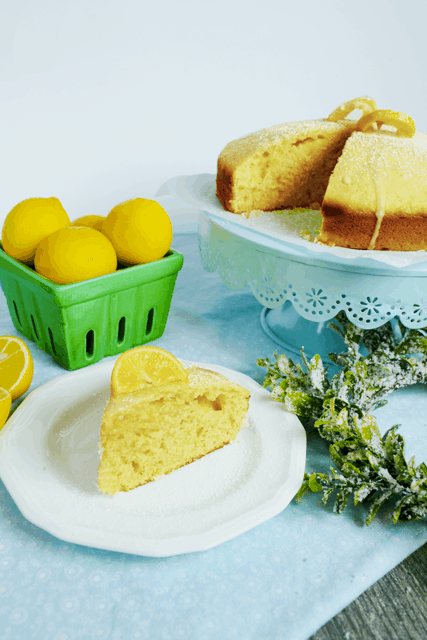 pretty presentation of simple lemon cake in a cake stand