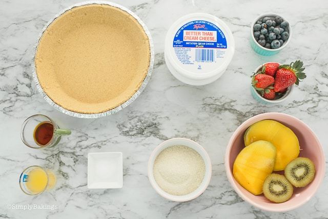 ingredients for vegan fruit cheesecake recipe