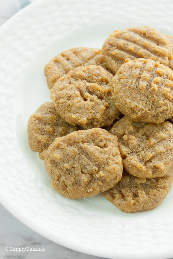 a plate full of delicious keto peanut butter cookies