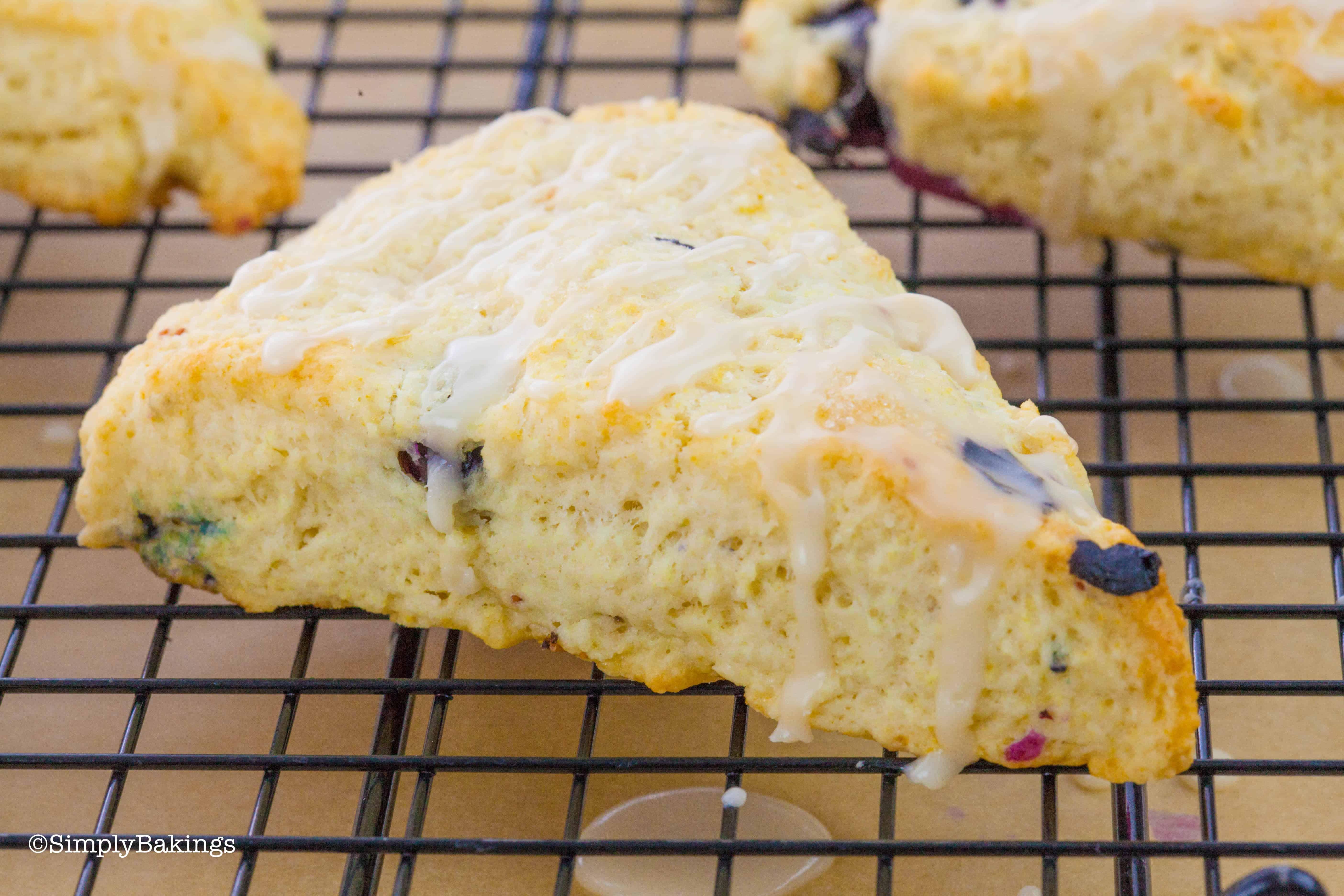 blueberry scone drizzled with lemon glaze