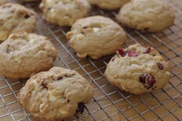 cooling off the cranberry chip cookies in a wire rack