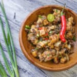 delicious and healthy tofu sisig in a wooden bowl