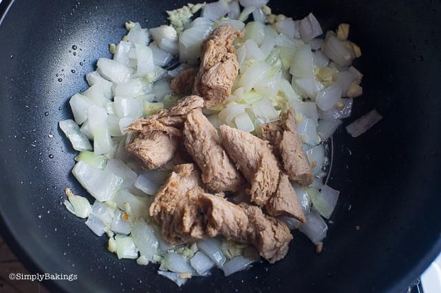 garlic, onions, and seitan for vegan kare kare recipe