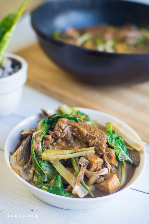 Vegan Kare Kare in white bowl