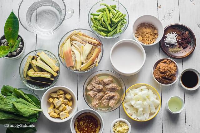 ingredients of vegan kare kare